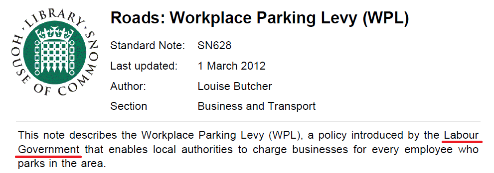 Labours Workplace Parking Levy
